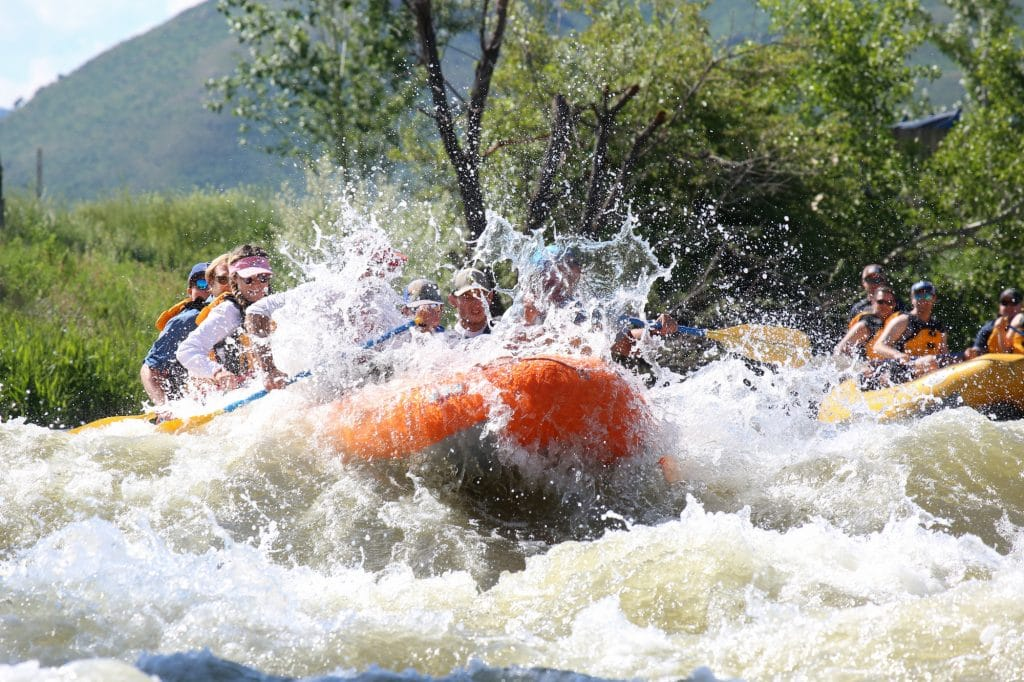 Big splash while rafting the Weber River