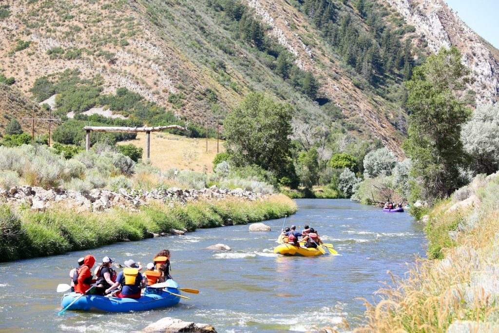 two groups rafting on the Weber River